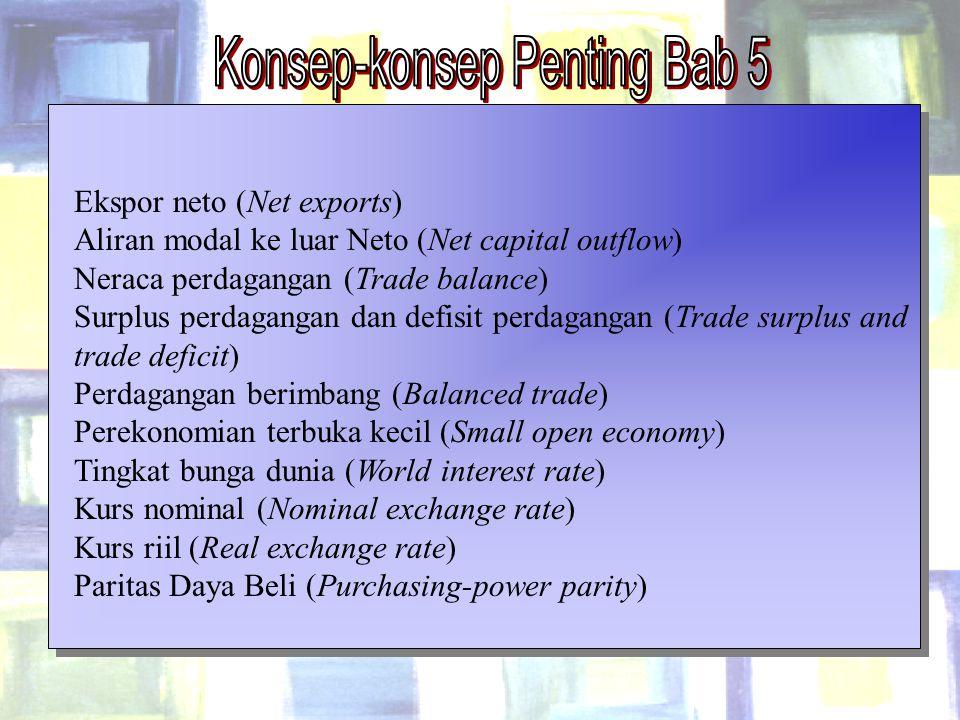 Chapter Five 33 Ekspor neto (Net exports) Aliran modal ke luar Neto (Net capital outflow) Neraca perdagangan (Trade balance) Surplus perdagangan dan d
