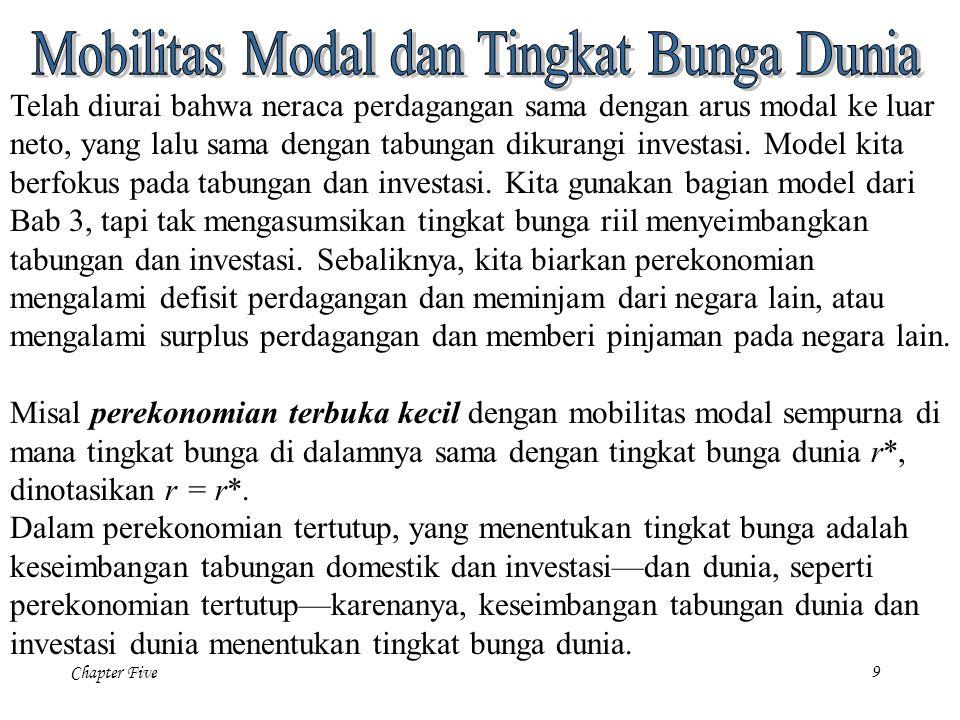 Chapter Five 9 Telah diurai bahwa neraca perdagangan sama dengan arus modal ke luar neto, yang lalu sama dengan tabungan dikurangi investasi. Model ki