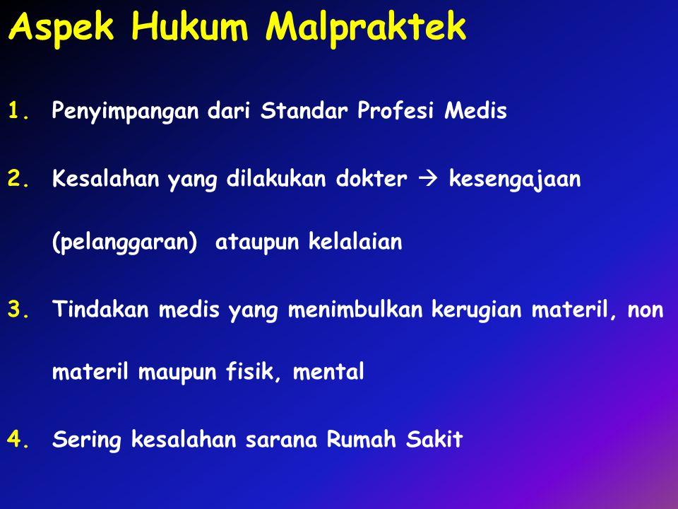 Aspek Hukum Malpraktek 1.Penyimpangan dari Standar Profesi Medis 2.Kesalahan yang dilakukan dokter  kesengajaan (pelanggaran) ataupun kelalaian 3.Tin