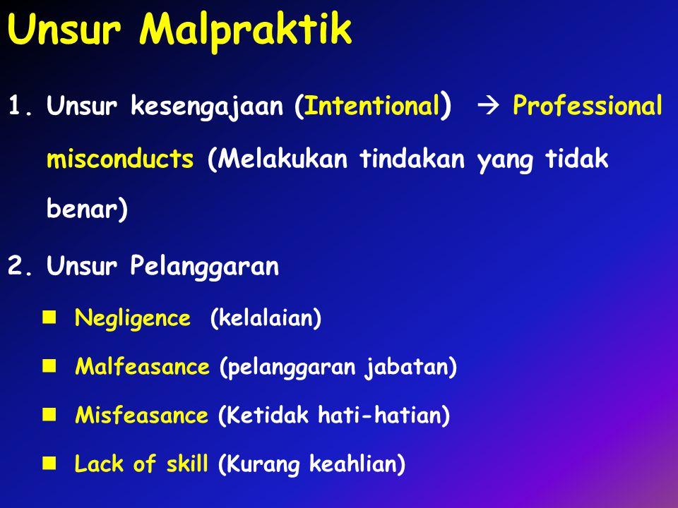 Unsur Malpraktik 1.Unsur kesengajaan (Intentional )  Professional misconducts (Melakukan tindakan yang tidak benar) 2.Unsur Pelanggaran Negligence (k