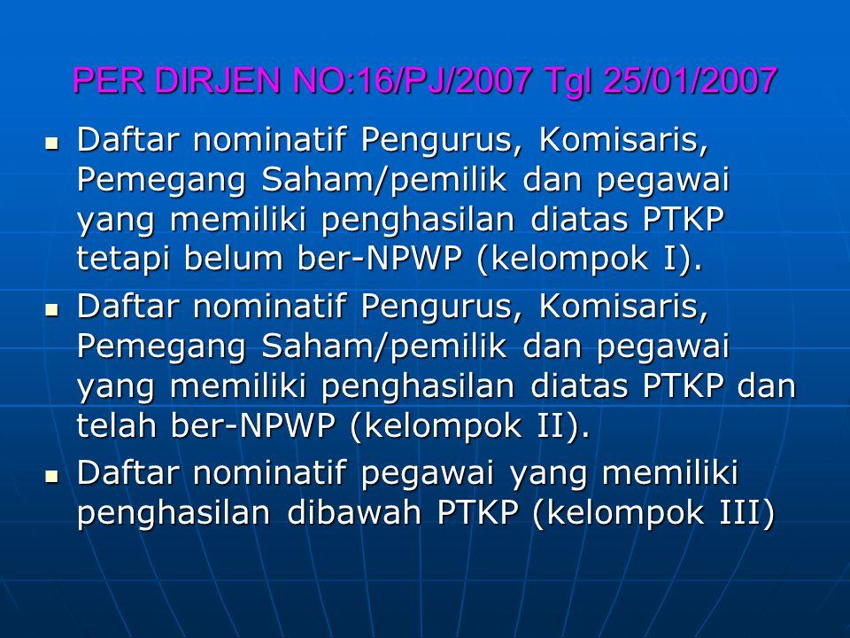 PER DIRJEN NO:16/PJ/2007 Tgl 25/01/2007 Daftar nominatif Pengurus, Komisaris, Pemegang Saham/pemilik dan pegawai yang memiliki penghasilan diatas PTKP