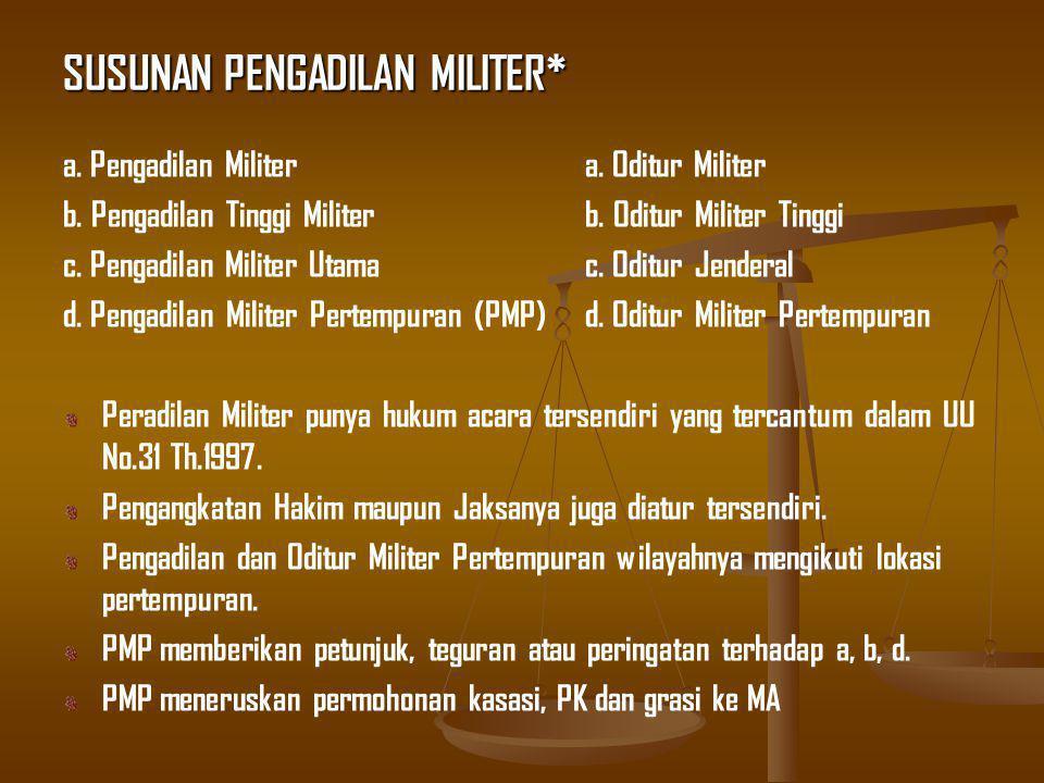 SUSUNAN PENGADILAN MILITER* a. Pengadilan Militera.