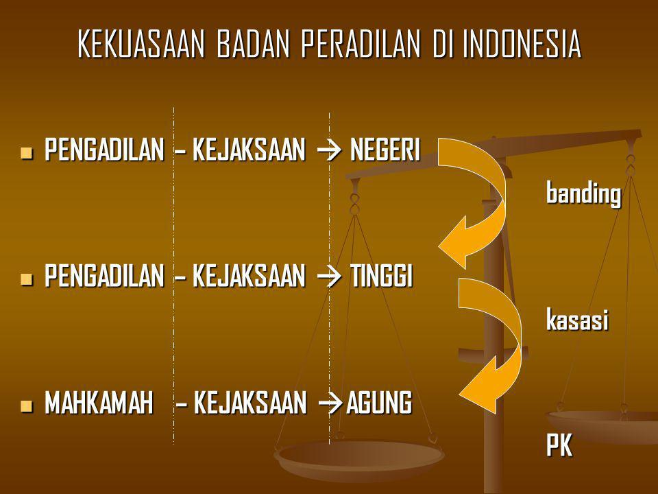 KEKUASAAN BADAN PERADILAN DI INDONESIA PENGADILAN – KEJAKSAAN  NEGERI PENGADILAN – KEJAKSAAN  NEGERIbanding PENGADILAN – KEJAKSAAN  TINGGI PENGADILAN – KEJAKSAAN  TINGGI kasasi kasasi MAHKAMAH – KEJAKSAAN  AGUNG MAHKAMAH – KEJAKSAAN  AGUNGPK