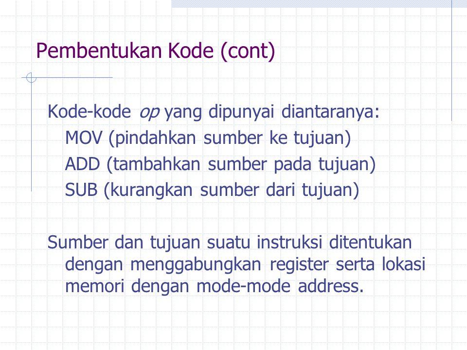 Pembentukan Kode (cont) Kode-kode op yang dipunyai diantaranya: MOV (pindahkan sumber ke tujuan) ADD (tambahkan sumber pada tujuan) SUB (kurangkan sum