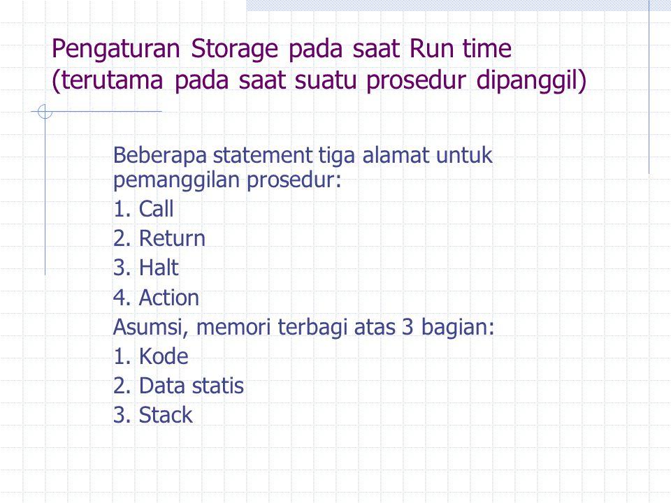 Pengaturan Storage pada saat Run time (terutama pada saat suatu prosedur dipanggil) Beberapa statement tiga alamat untuk pemanggilan prosedur: 1. Call