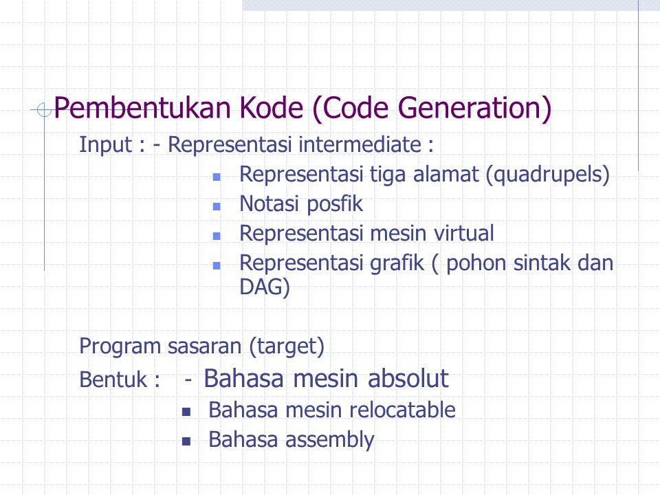 Pembentukan Kode (Code Generation) Input : - Representasi intermediate : Representasi tiga alamat (quadrupels) Notasi posfik Representasi mesin virtua