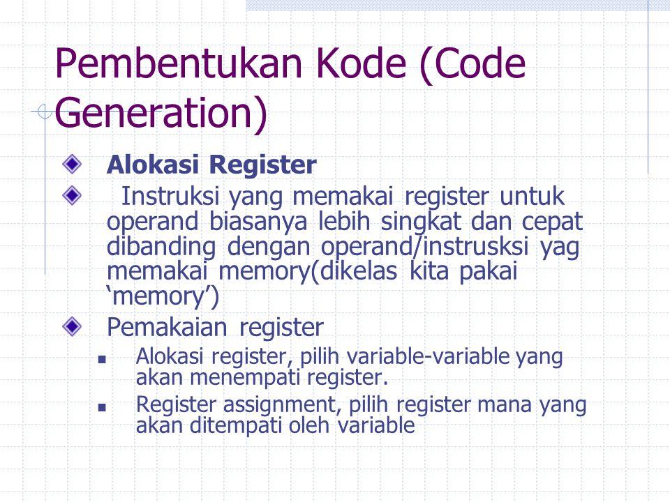 Pembentukan Kode (Code Generation) Alokasi Register Instruksi yang memakai register untuk operand biasanya lebih singkat dan cepat dibanding dengan op