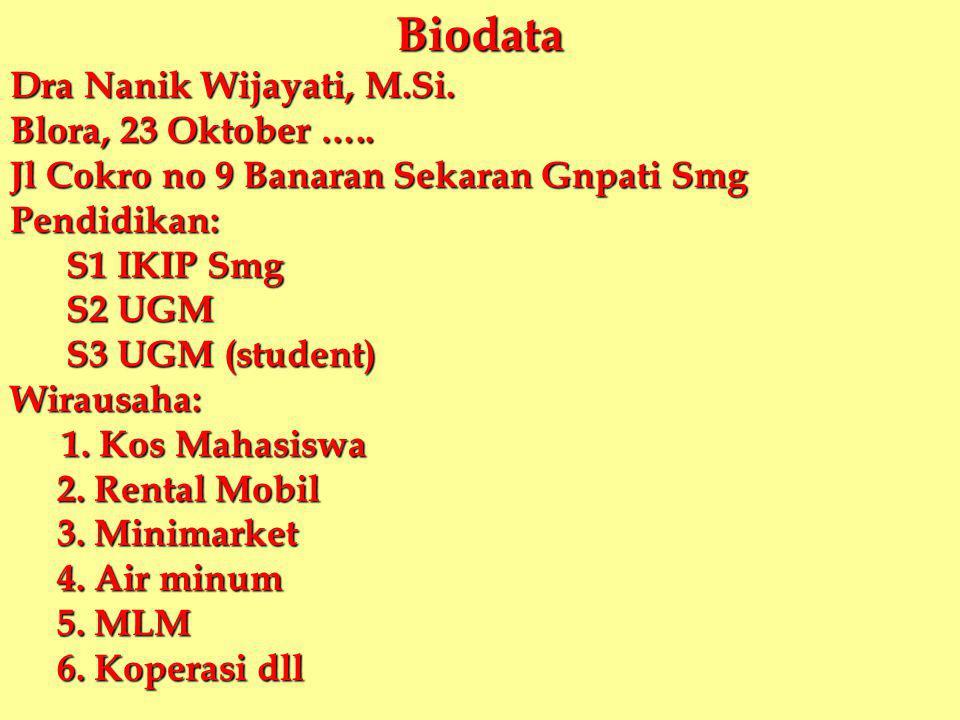 Biodata Dra Nanik Wijayati, M.Si. Blora, 23 Oktober …..