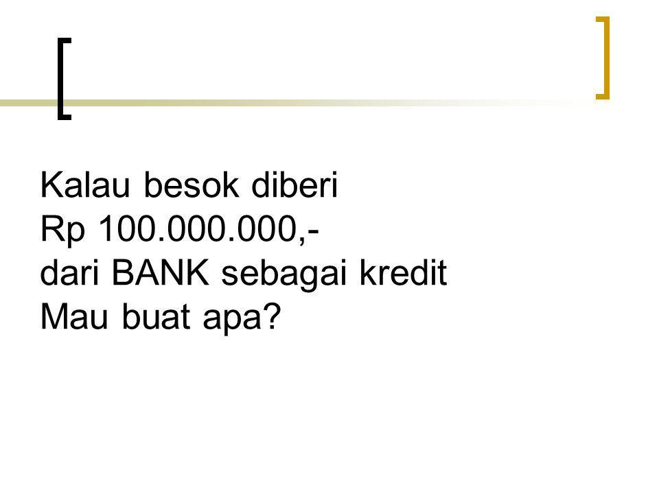 Kalau besok diberi Rp 100.000.000,- dari BANK sebagai kredit Mau buat apa