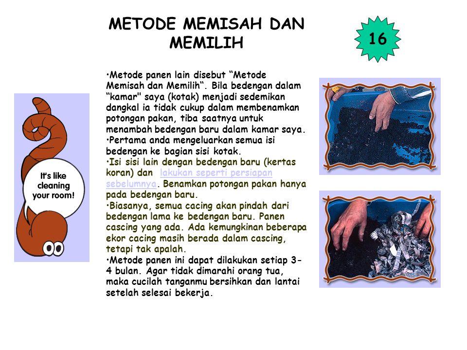 """METODE MEMISAH DAN MEMILIH Metode panen lain disebut """"Metode Memisah dan Memilih"""". Bila bedengan dalam """"kamar"""