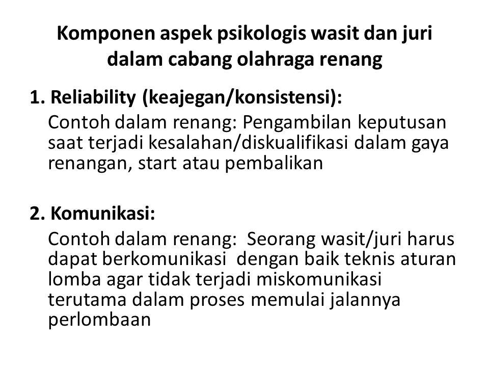 Komponen aspek psikologis wasit dan juri dalam cabang olahraga renang 1.