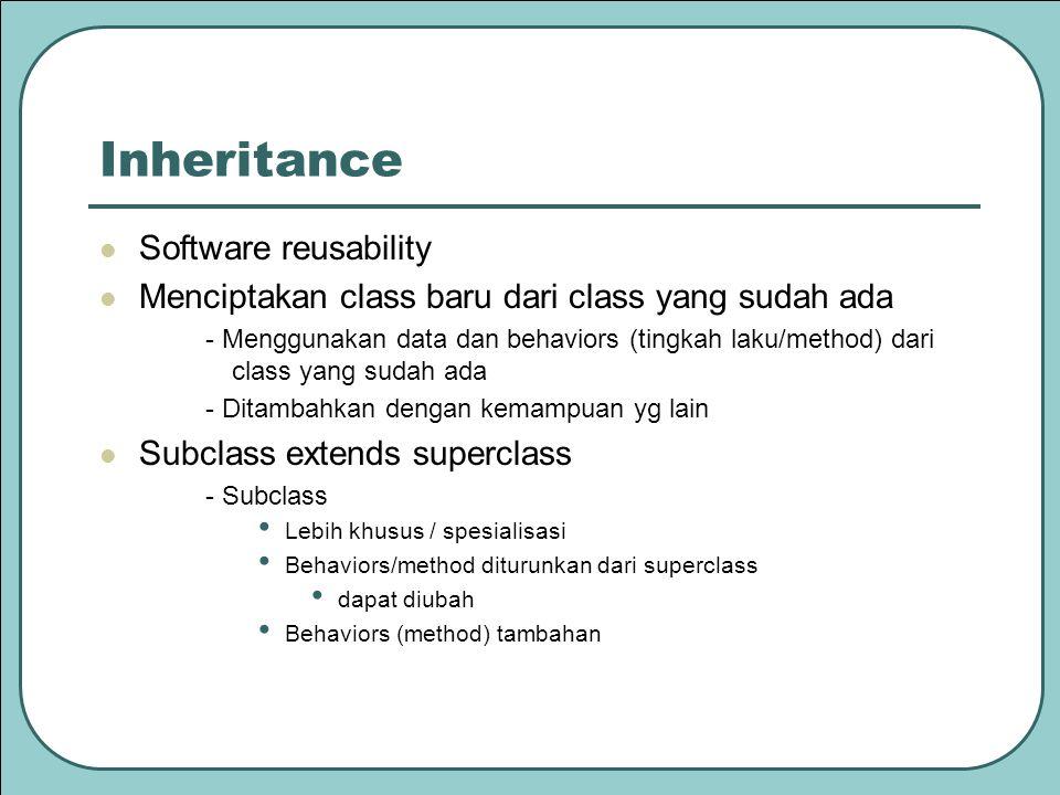 Software reusability Menciptakan class baru dari class yang sudah ada - Menggunakan data dan behaviors (tingkah laku/method) dari class yang sudah ada