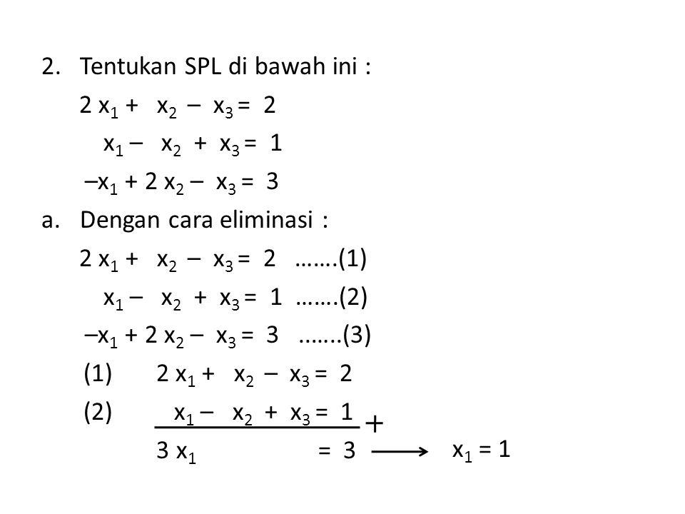 2.Tentukan SPL di bawah ini : 2 x 1 + x 2 – x 3 = 2 x 1 – x 2 + x 3 = 1 –x 1 + 2 x 2 – x 3 = 3 a.Dengan cara eliminasi : 2 x 1 + x 2 – x 3 = 2 …….(1)