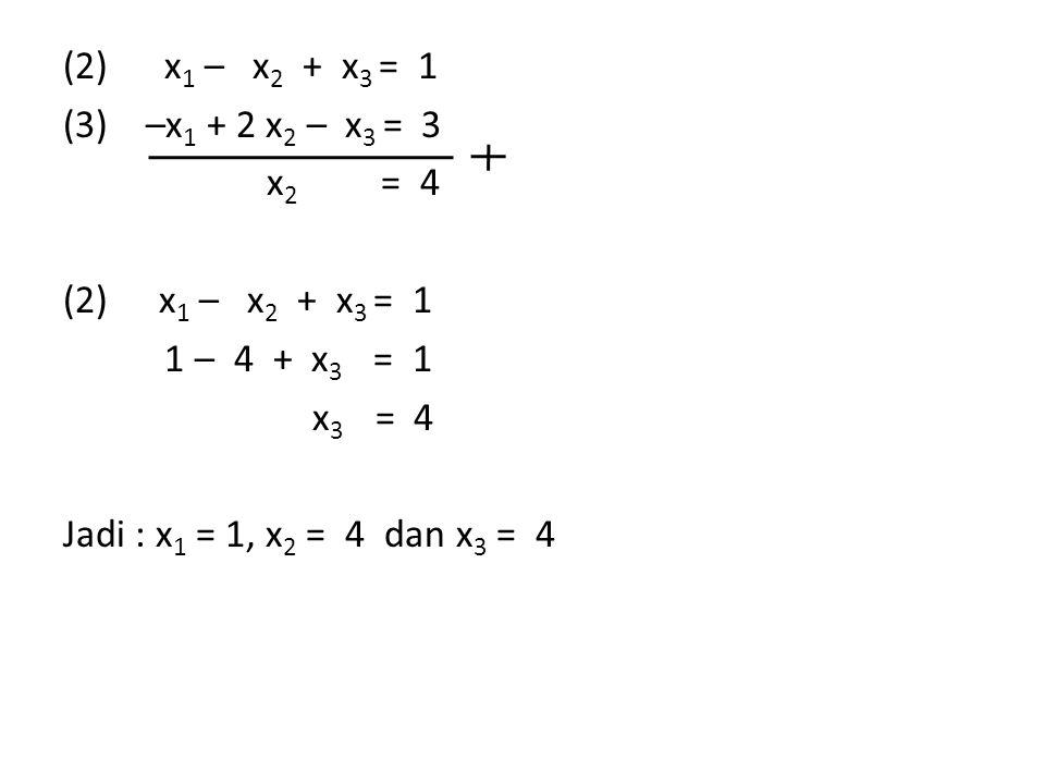 (2) x 1 – x 2 + x 3 = 1 (3) –x 1 + 2 x 2 – x 3 = 3 x 2 = 4 (2) x 1 – x 2 + x 3 = 1 1 – 4 + x 3 = 1 x 3 = 4 Jadi : x 1 = 1, x 2 = 4 dan x 3 = 4