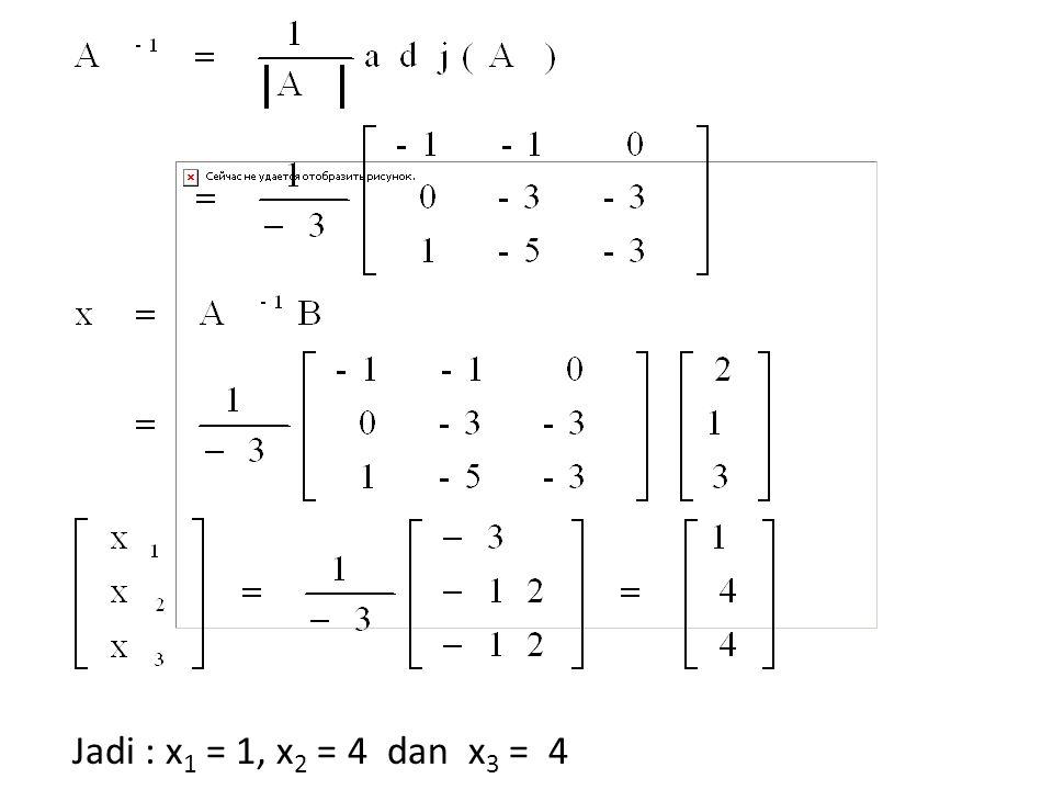 Jadi : x 1 = 1, x 2 = 4 dan x 3 = 4