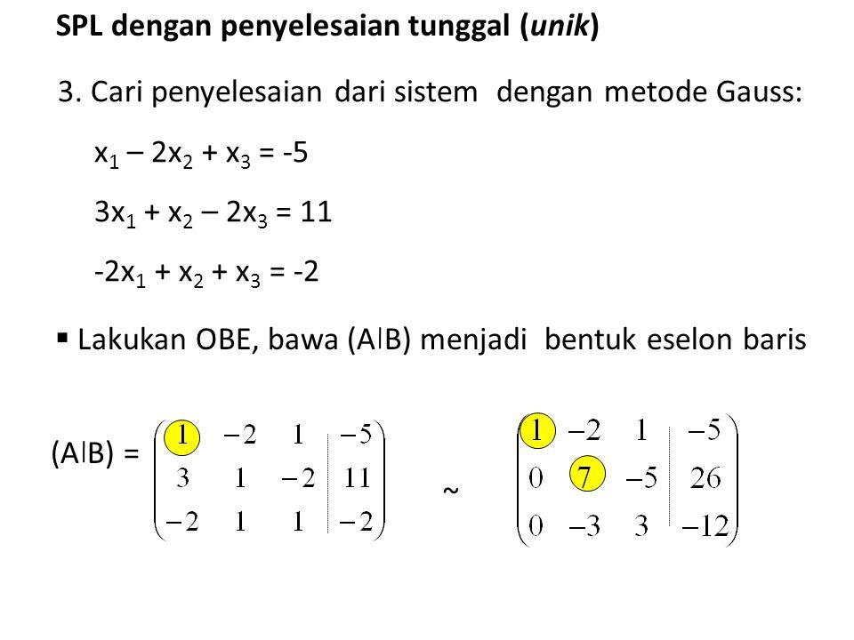 SPL dengan penyelesaian tunggal (unik) 3. Cari penyelesaian dari sistem dengan metode Gauss: x 1 – 2x 2 + x 3 = -5 3x 1 + x 2 – 2x 3 = 11 -2x 1 + x 2