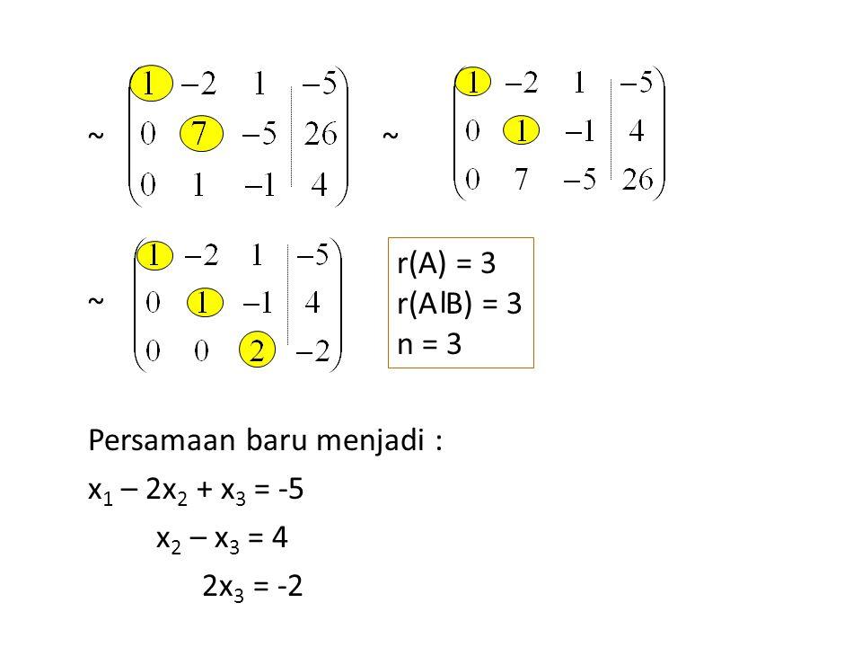 Persamaan baru menjadi : x 1 – 2x 2 + x 3 = -5 x 2 – x 3 = 4 2x 3 = -2 ~ ~~ r(A) = 3 r(A B) = 3 n = 3