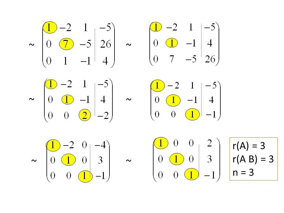 ~ ~~ ~ ~~ r(A) = 3 r(A B) = 3 n = 3