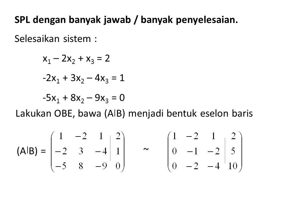 SPL dengan banyak jawab / banyak penyelesaian. Selesaikan sistem : x 1 – 2x 2 + x 3 = 2 -2x 1 + 3x 2 – 4x 3 = 1 -5x 1 + 8x 2 – 9x 3 = 0 Lakukan OBE, b