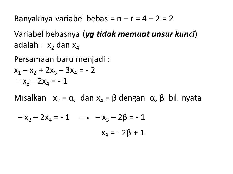 Banyaknya variabel bebas = n – r = 4 – 2 = 2 Variabel bebasnya (yg tidak memuat unsur kunci) adalah : x 2 dan x 4 Persamaan baru menjadi : x 1 – x 2 +