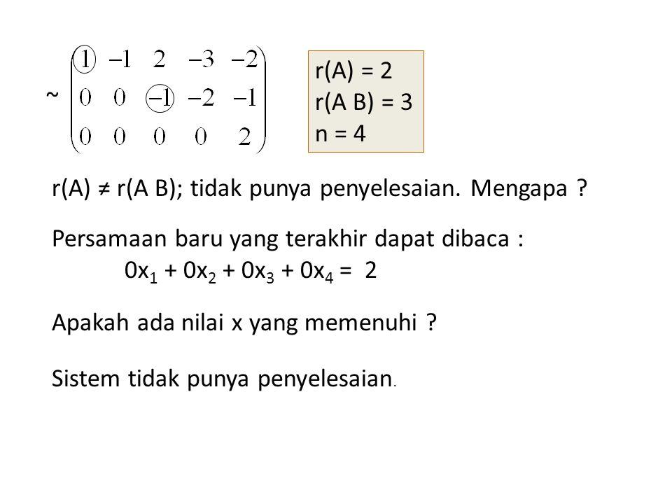 ~ r(A) = 2 r(A B) = 3 n = 4 r(A) ≠ r(A B); tidak punya penyelesaian. Mengapa ? Persamaan baru yang terakhir dapat dibaca : 0x 1 + 0x 2 + 0x 3 + 0x 4 =