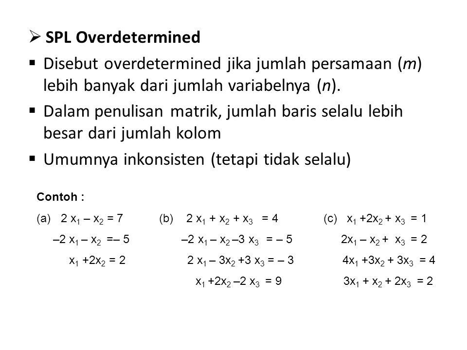  SPL Overdetermined  Disebut overdetermined jika jumlah persamaan (m) lebih banyak dari jumlah variabelnya (n).  Dalam penulisan matrik, jumlah bar
