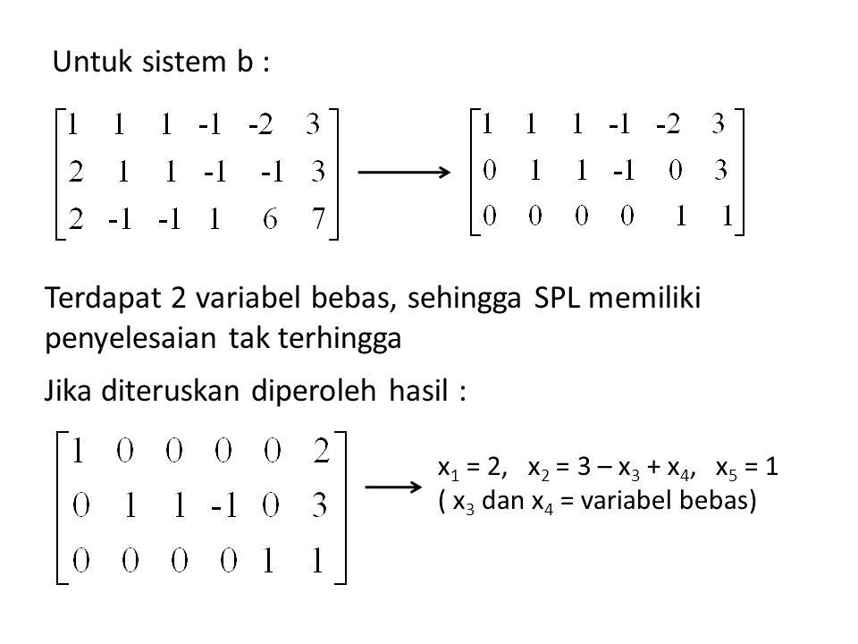 Untuk sistem b : Terdapat 2 variabel bebas, sehingga SPL memiliki penyelesaian tak terhingga Jika diteruskan diperoleh hasil : x 1 = 2, x 2 = 3 – x 3