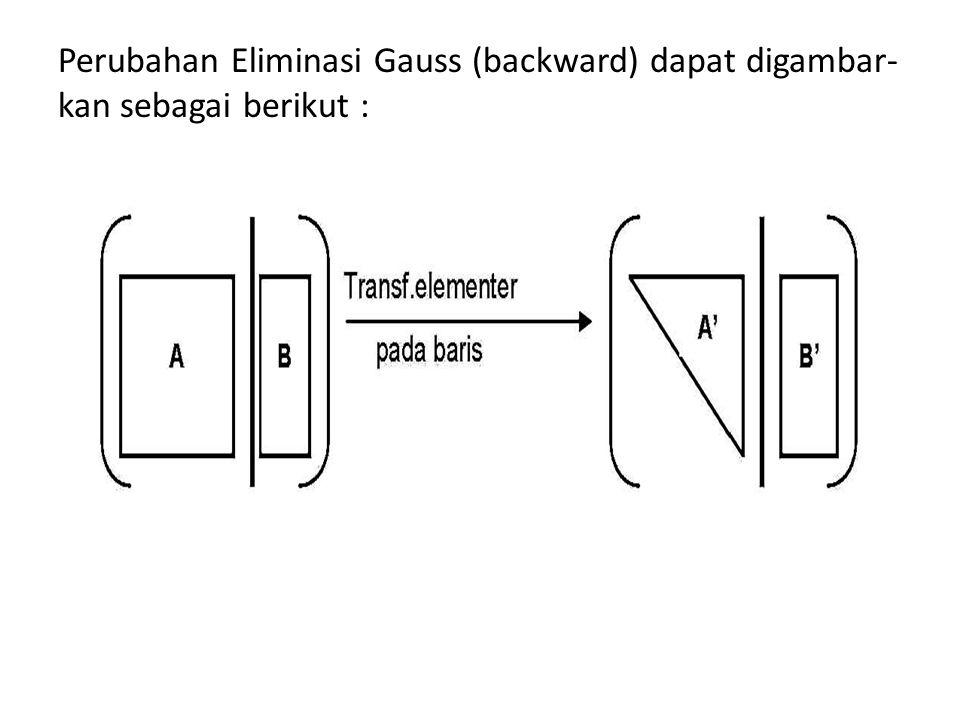  Selanjutnya lakukan substitusi balik : 2x 3 = -2 x 3 = -1 x 2 – x 3 = 4 x 2 – (-1) = 4 x 2 = 3 x 1 – 2x 2 + x 3 = -5 x 1 – 2(3) + (- 1) = -5 x 1 = 2 Jadi penyelesaiannya : {(2, 3, -1)}.