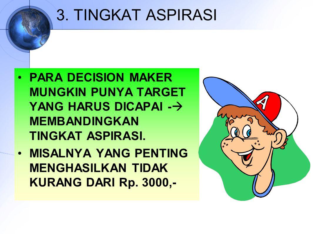 3. TINGKAT ASPIRASI PARA DECISION MAKER MUNGKIN PUNYA TARGET YANG HARUS DICAPAI -  MEMBANDINGKAN TINGKAT ASPIRASI. MISALNYA YANG PENTING MENGHASILKAN