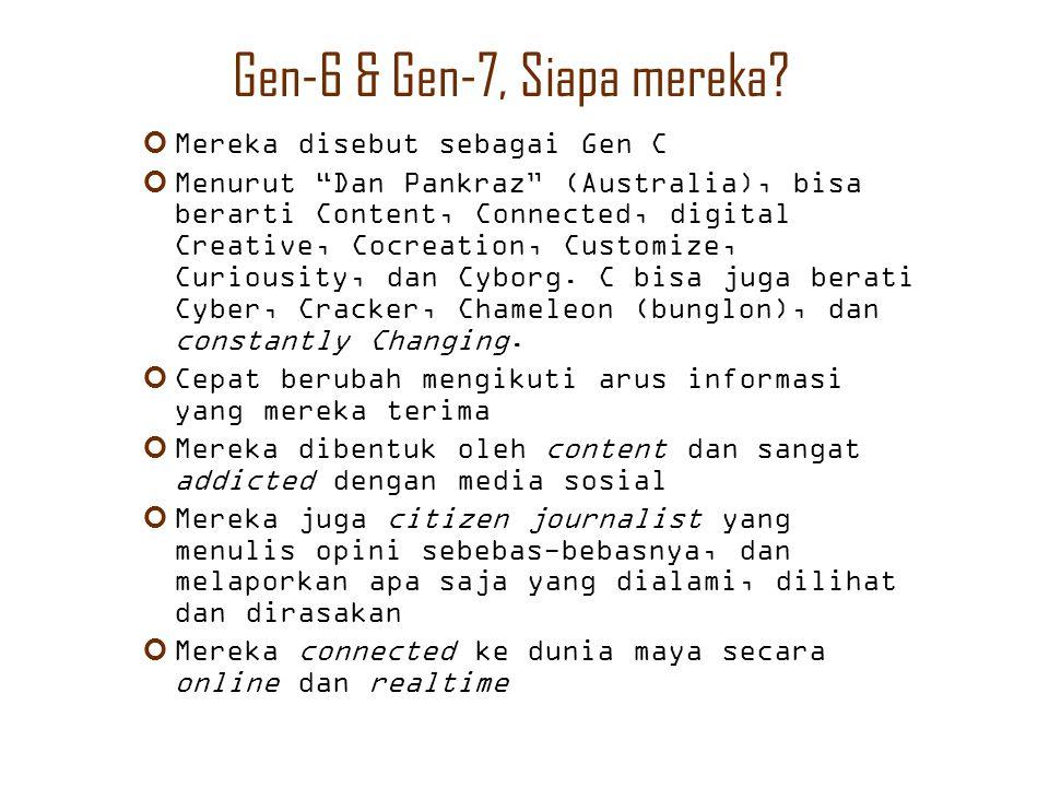"""Gen-6 & Gen-7, Siapa mereka? Mereka disebut sebagai Gen C Menurut """"Dan Pankraz"""" (Australia), bisa berarti Content, Connected, digital Creative, Cocrea"""