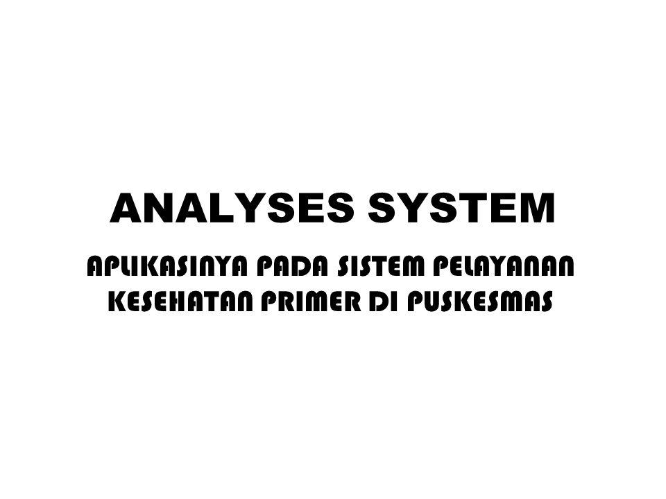 ANALYSES SYSTEM APLIKASINYA PADA SISTEM PELAYANAN KESEHATAN PRIMER DI PUSKESMAS