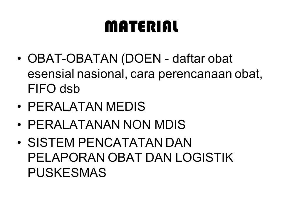 MATERIAL OBAT-OBATAN (DOEN - daftar obat esensial nasional, cara perencanaan obat, FIFO dsb PERALATAN MEDIS PERALATANAN NON MDIS SISTEM PENCATATAN DAN