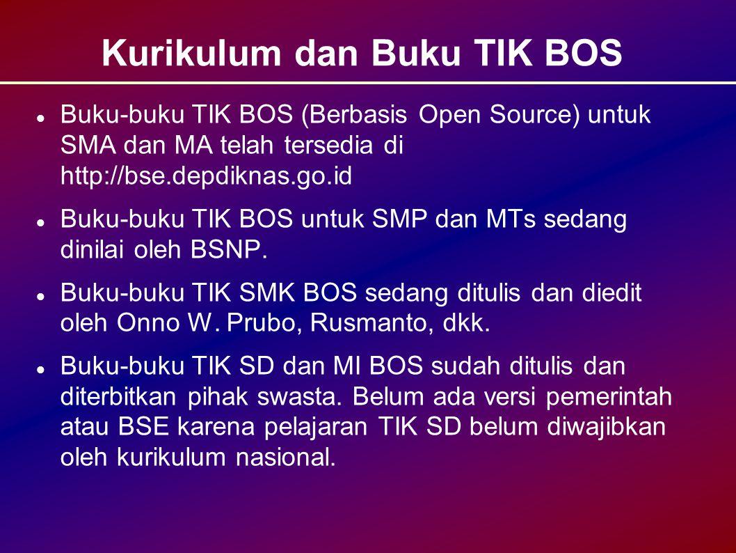 Kurikulum dan Buku TIK BOS Buku-buku TIK BOS (Berbasis Open Source) untuk SMA dan MA telah tersedia di http://bse.depdiknas.go.id Buku-buku TIK BOS untuk SMP dan MTs sedang dinilai oleh BSNP.