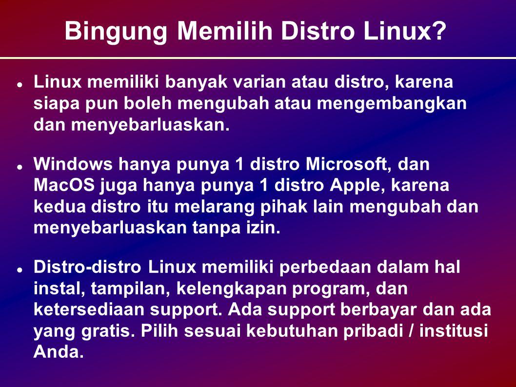 Masalah dan Solusinya (2) Masalah: Pengajar/guru/dosen dan atau teknisi/laboran kesulitan belajar sendiri Linux dan FOSS.