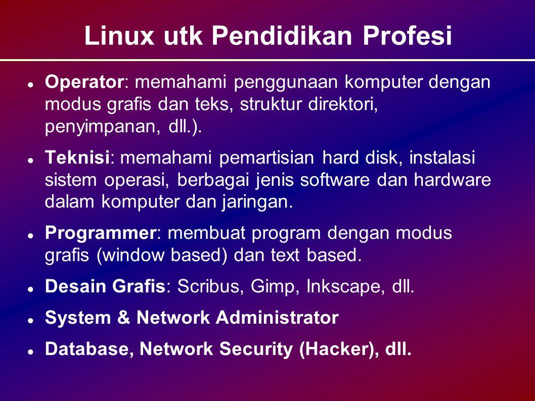 Linux utk Pendidikan Profesi Operator: memahami penggunaan komputer dengan modus grafis dan teks, struktur direktori, penyimpanan, dll.).