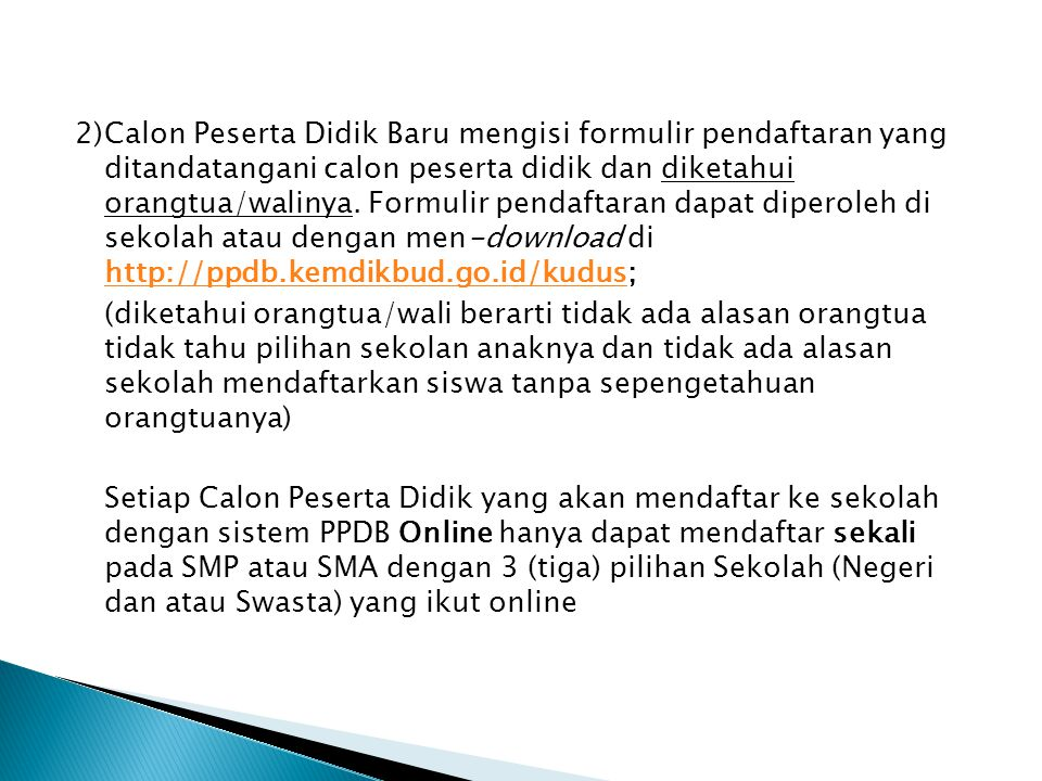 1)Calon Peserta Didik Baru mendaftar ke sekolah yang menjadi pilihan 1 (Pertama) sbb : ◦ Bagi calon Peserta Didik yang memiliki sertifikat (piagam) penghargaan pada tanggal 23-25 Juni 2014 jam 08.00-13.00 WIB.