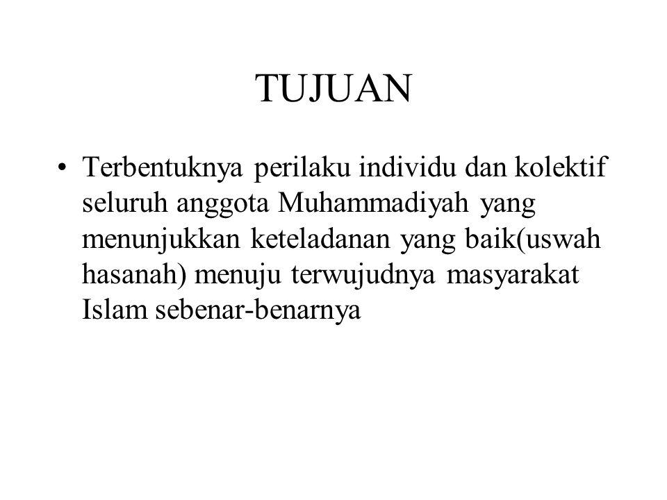 TUJUAN Terbentuknya perilaku individu dan kolektif seluruh anggota Muhammadiyah yang menunjukkan keteladanan yang baik(uswah hasanah) menuju terwujudn
