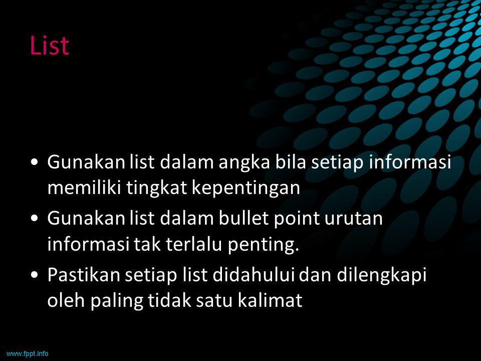 List Gunakan list dalam angka bila setiap informasi memiliki tingkat kepentingan Gunakan list dalam bullet point urutan informasi tak terlalu penting.