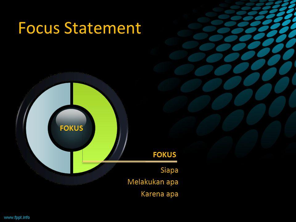 Focus Statement FOKUS Siapa Melakukan apa Karena apa