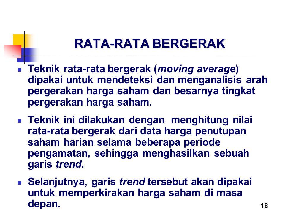 18 RATA-RATA BERGERAK Teknik rata-rata bergerak (moving average) dipakai untuk mendeteksi dan menganalisis arah pergerakan harga saham dan besarnya ti