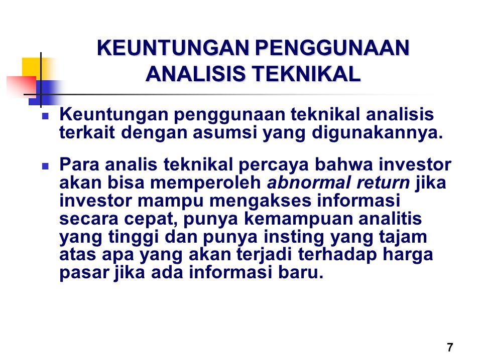 7 KEUNTUNGAN PENGGUNAAN ANALISIS TEKNIKAL Keuntungan penggunaan teknikal analisis terkait dengan asumsi yang digunakannya. Para analis teknikal percay