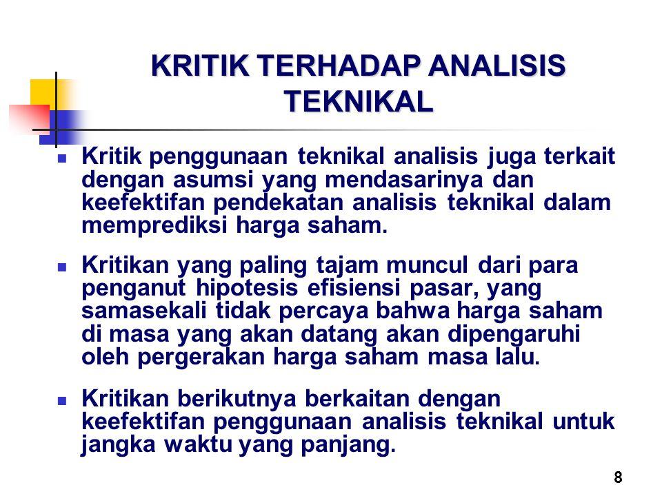 8 KRITIK TERHADAP ANALISIS TEKNIKAL Kritik penggunaan teknikal analisis juga terkait dengan asumsi yang mendasarinya dan keefektifan pendekatan analis