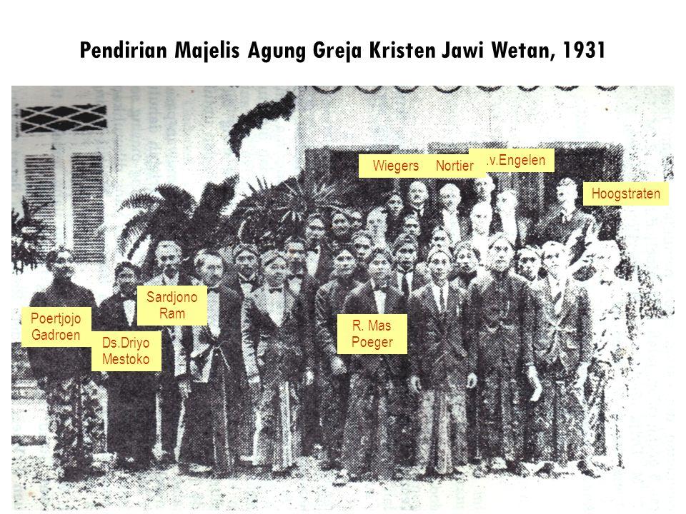 Pendirian Majelis Agung Greja Kristen Jawi Wetan, 1931 Poertjojo Gadroen Ds.Driyo Mestoko R. Mas Poeger Sardjono Ram Wiegers C.v.Engelen Hoogstraten N