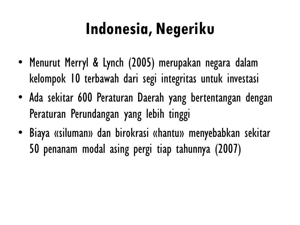 Indonesia, Negeriku Menurut Merryl & Lynch (2005) merupakan negara dalam kelompok 10 terbawah dari segi integritas untuk investasi Ada sekitar 600 Per