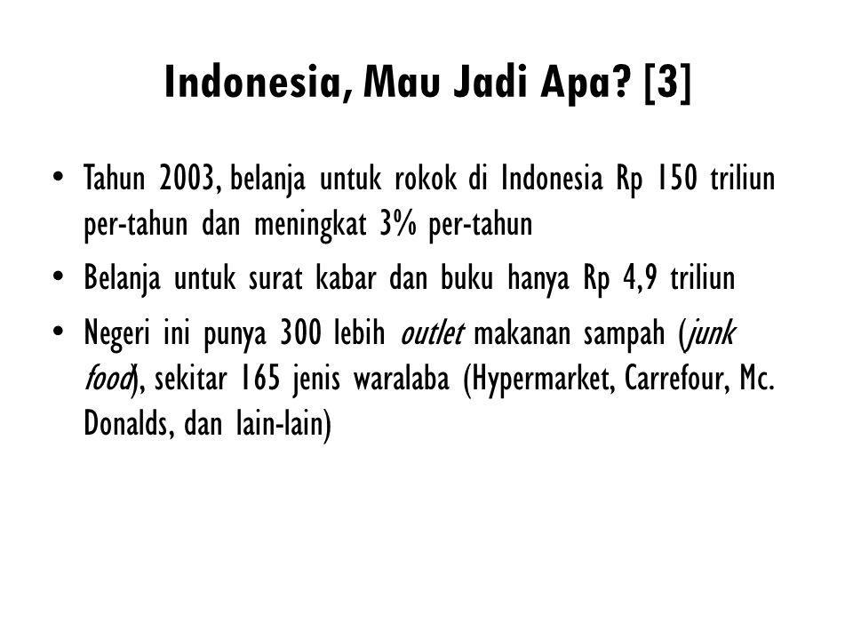 Indonesia, Mau Jadi Apa? [3] Tahun 2003, belanja untuk rokok di Indonesia Rp 150 triliun per-tahun dan meningkat 3% per-tahun Belanja untuk surat kaba