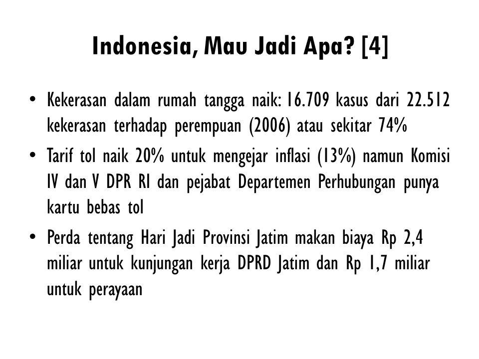 Indonesia, Mau Jadi Apa? [4] Kekerasan dalam rumah tangga naik: 16.709 kasus dari 22.512 kekerasan terhadap perempuan (2006) atau sekitar 74% Tarif to