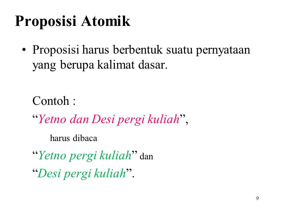 Proposisi Atomik vs Majemuk Argumen berisi proposisi-proposisi yang sudah tak bisa dipecah-pecah lagi disebut proposisi atomik Proposisi atomik yang dirangkai dengan perangkai logika (logical connectives) disebut proposisi majemuk Proposisi majemuk terdiri dari banyak proposisi atomik 8