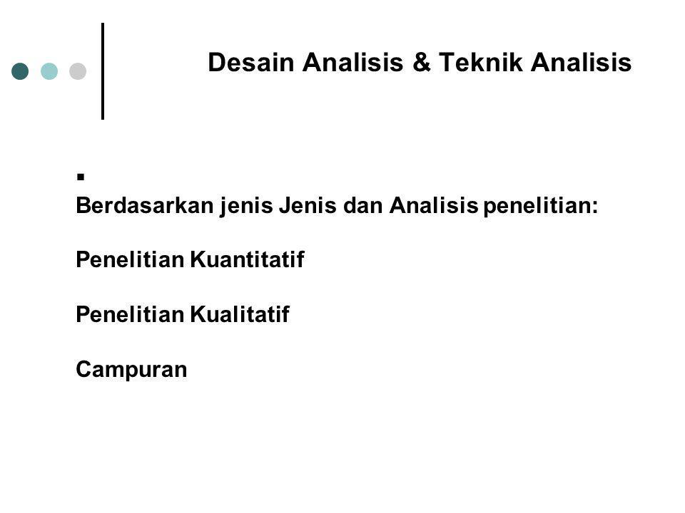 Desain Analisis & Teknik Analisis  Berdasarkan jenis Jenis dan Analisis penelitian: Penelitian Kuantitatif Penelitian Kualitatif Campuran