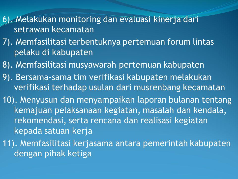 6). Melakukan monitoring dan evaluasi kinerja dari setrawan kecamatan 7). Memfasilitasi terbentuknya pertemuan forum lintas pelaku di kabupaten 8). Me