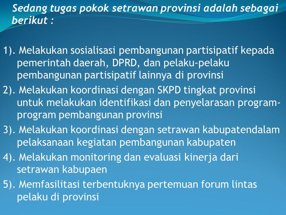 Sedang tugas pokok setrawan provinsi adalah sebagai berikut : 1). Melakukan sosialisasi pembangunan partisipatif kepada pemerintah daerah, DPRD, dan p